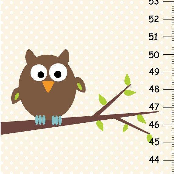 Personalized Nature Owl Canvas Growth Chart Jace Pinterest