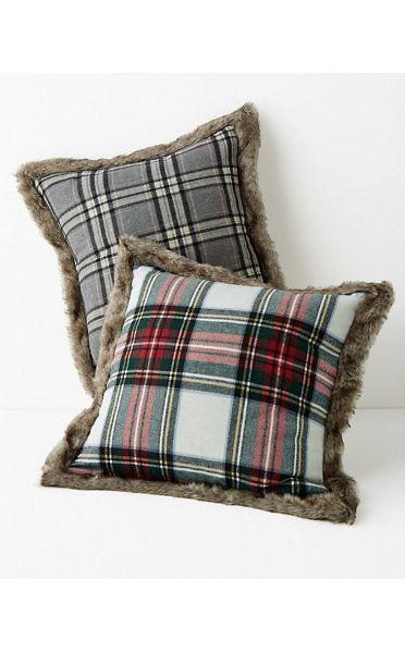 Plaid Faux-Fur-Trimmed Pillow  3e384dfb8374
