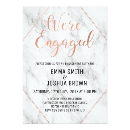 marble and calligraphy engagement invitation
