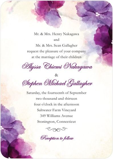 Signature White Textured Wedding Invitations  Soft Bougainvillea By