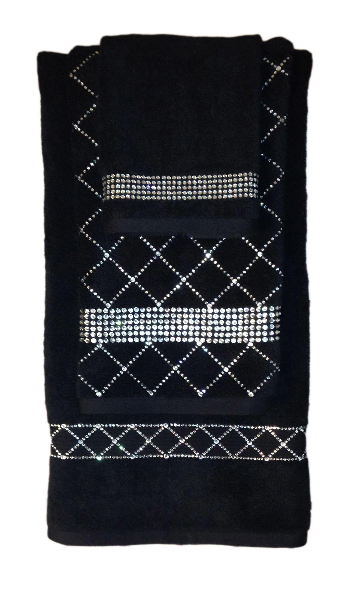 Sparkles Home Rhinestone 3 Piece Towel Set with Stripe Design