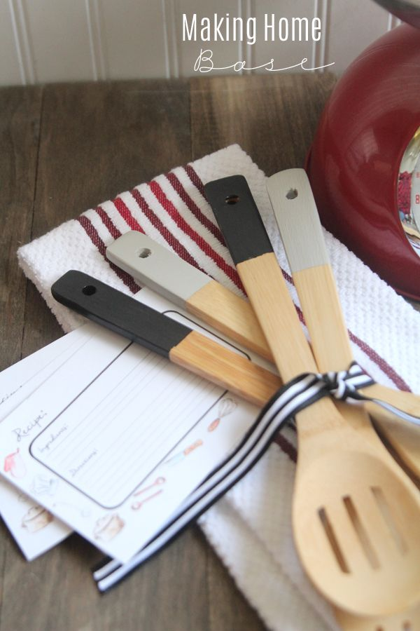 Gift Idea Paint Dipped Kitchen Utensils Free Recipe Card
