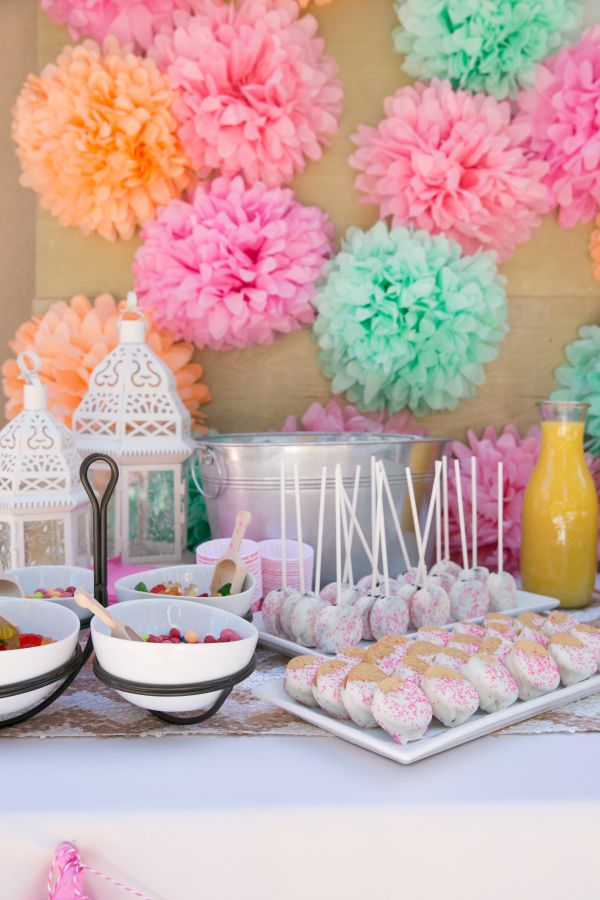 For mothers day party decorations you can use tissue paper pom
