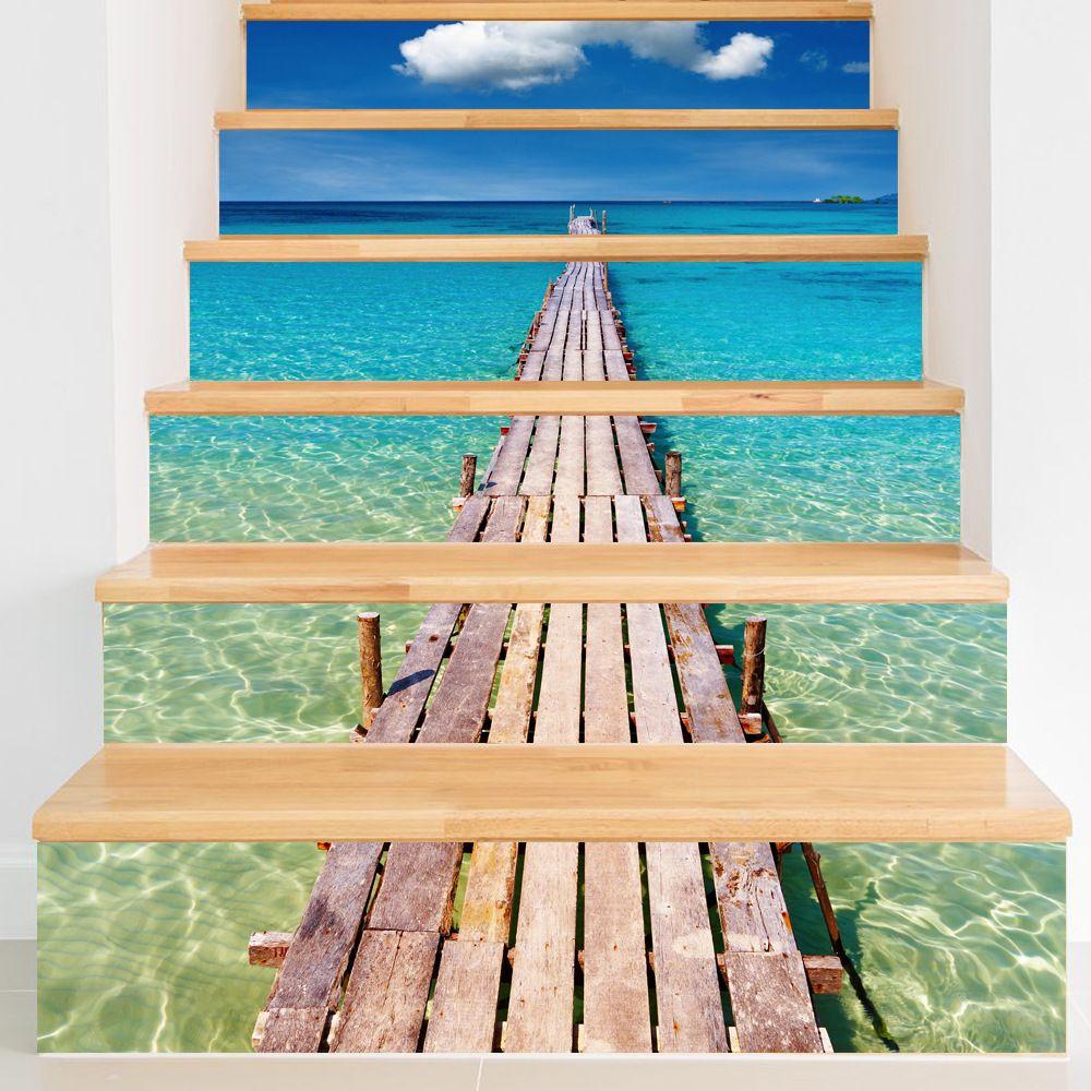 Goedkope Funlife strand trappen stickers pvc waterdicht muurstickers ...