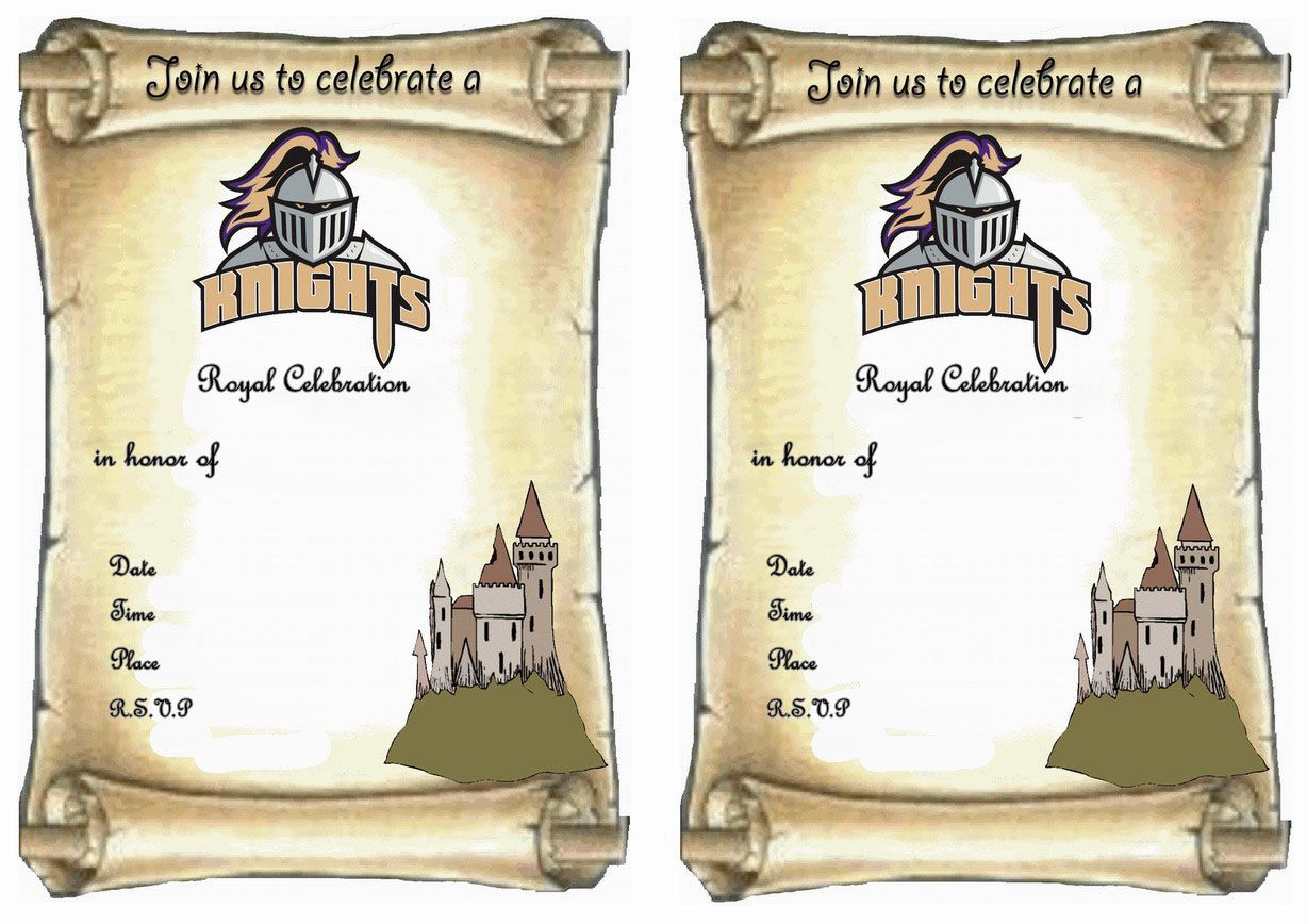 Knights FREE Printable Birthday Party Invitations – Knight Birthday Invitations