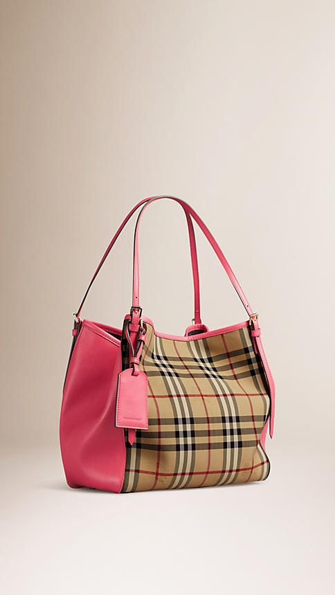 454962b118b7 Honey bright crimson pink The Small Canter in Horseferry Check and Leather  - Image 5
