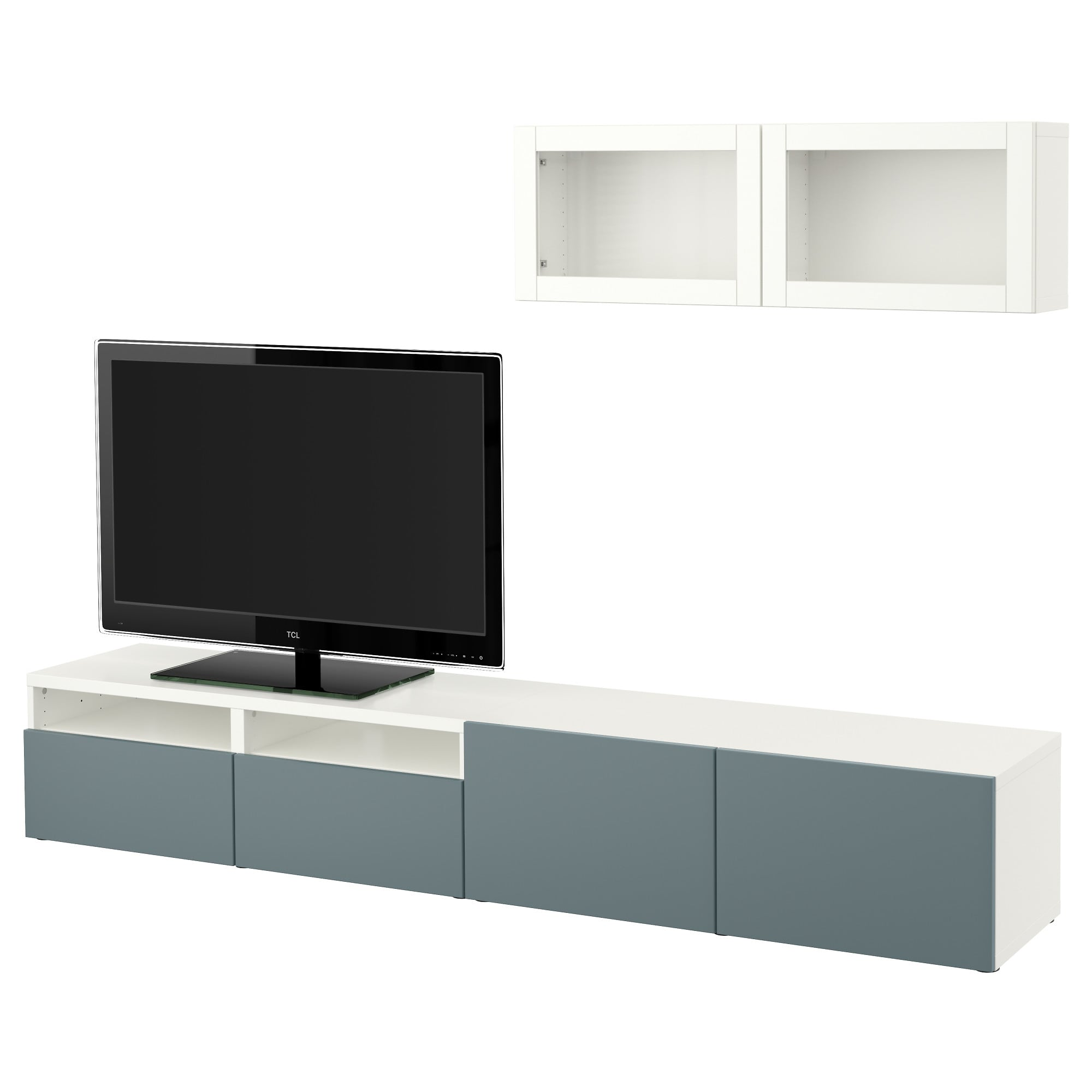 Tv Wand Glas BestÅ Tv Storage Combination Glass Doors White Valviken Gray