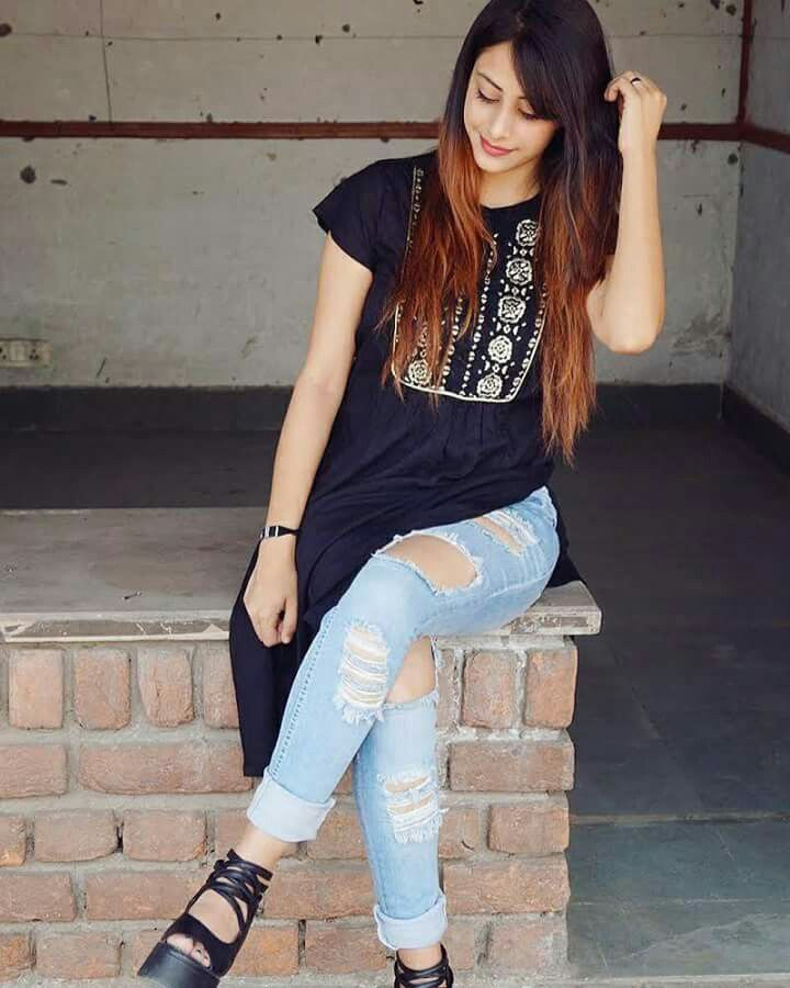 Black Kurta Blue Jeans Ripped Jeans With Indian Vibes Dpsssss