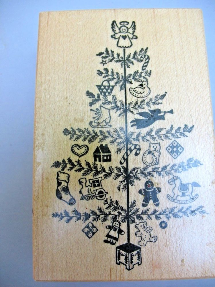 PSX G-372 Rubber Stamp Christmas Tree Presents Angel Toys Feather