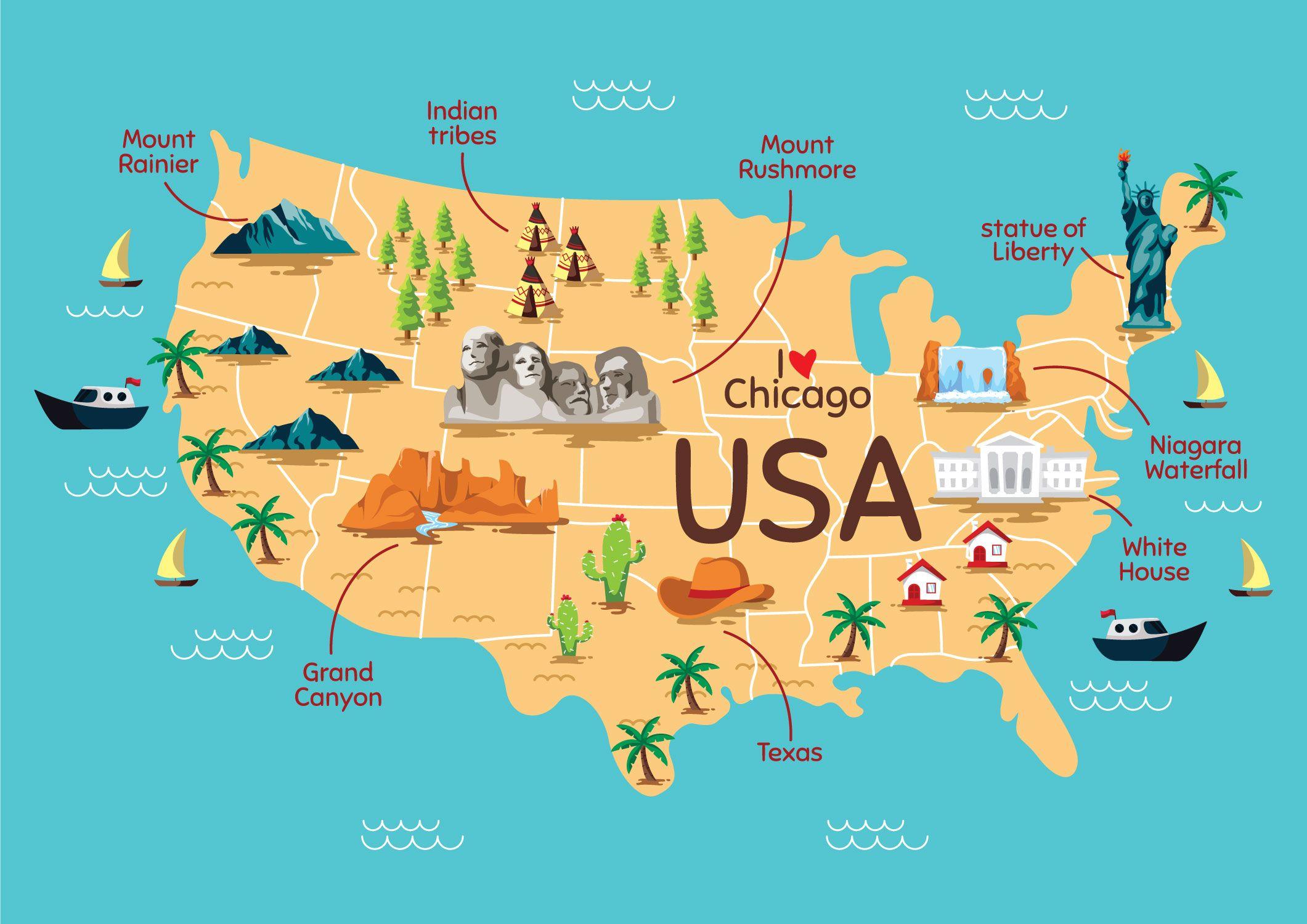 Mapa Do Ponto De Referencia Dos Estados Unidos Mapa Eua Mapa Estados Unidos