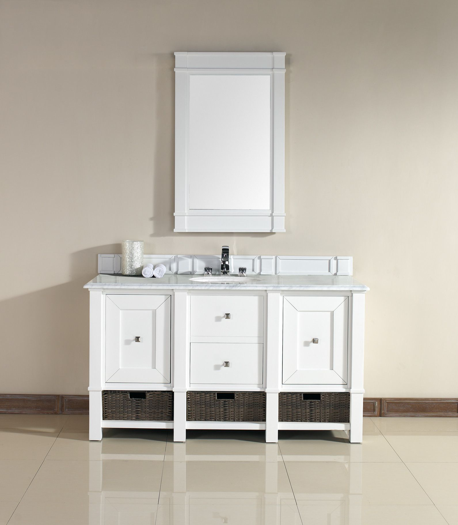 "James Martin 800-V60S-CWH-CAR Madison 60"" Cottage White Single Vanity with Carrera White Stone Top"