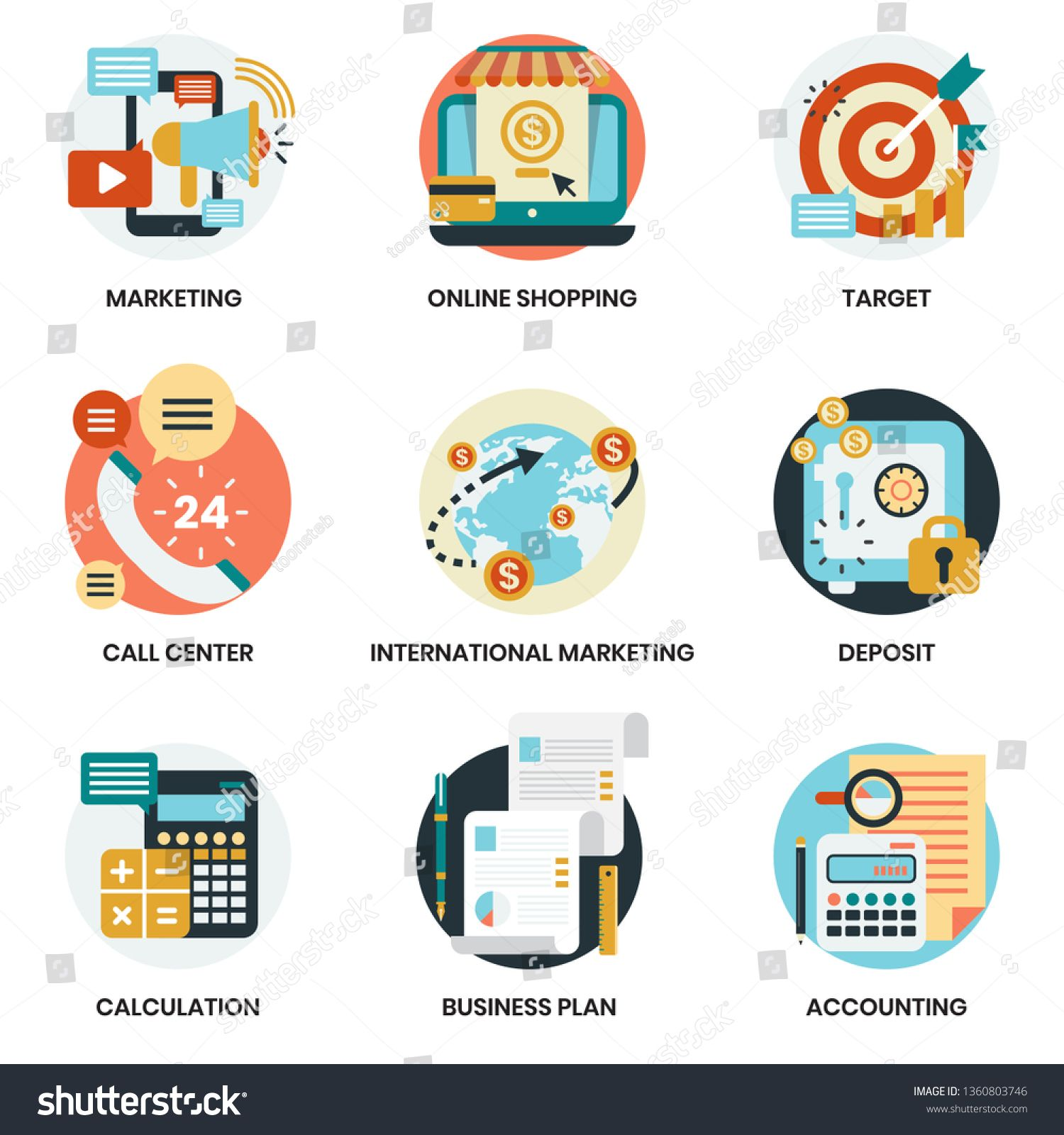 Business Icons Set For Business Marketing Management Ad