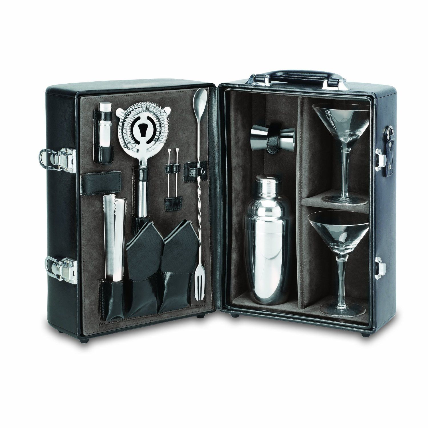 Picnic Time Manhattan Insulated Two Bottle Tail Case Bar Tool Kit Black