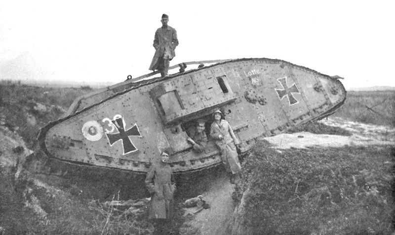 Art Bell and Leah with captured tank in WWI battlefield. Original ...