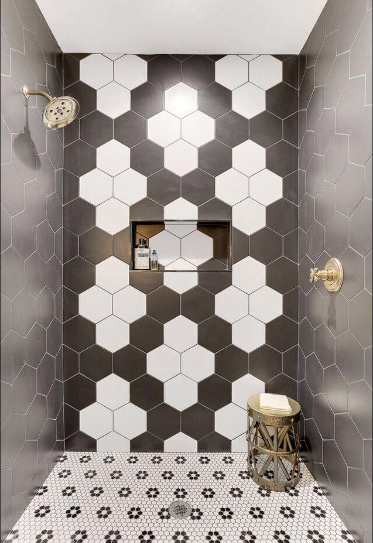 Spotlight On West Bay Homes The Tile Shop Blog White Hexagon Tile Bathroom Geometric Tiles Bathroom Bathroom Design Trends
