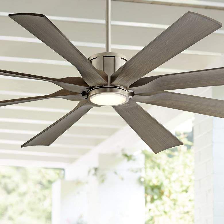 60 Possini Defender Brushed Nickel Damp Led Ceiling Fan