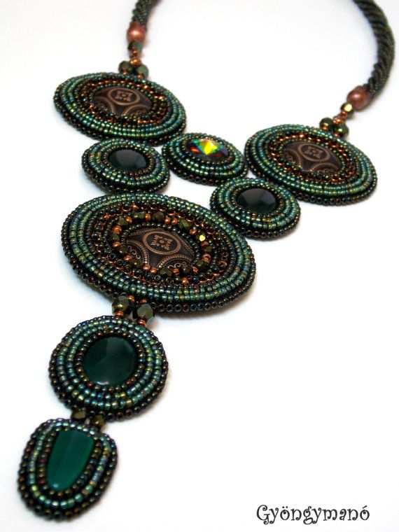 Bead embroidered necklace  Beadwork necklace  by GymsJewelry, €145.00