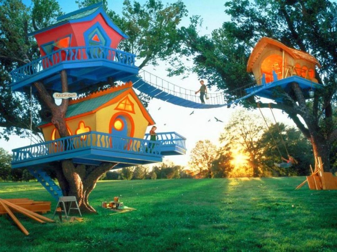 Exterior Cool Kids Tree House Design With Colourfull Wooden