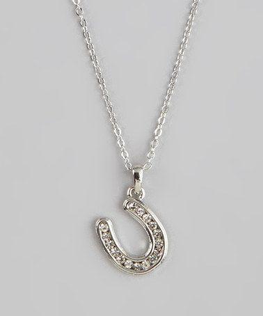 Silver Rhinestone Horseshoe Pendant Necklace