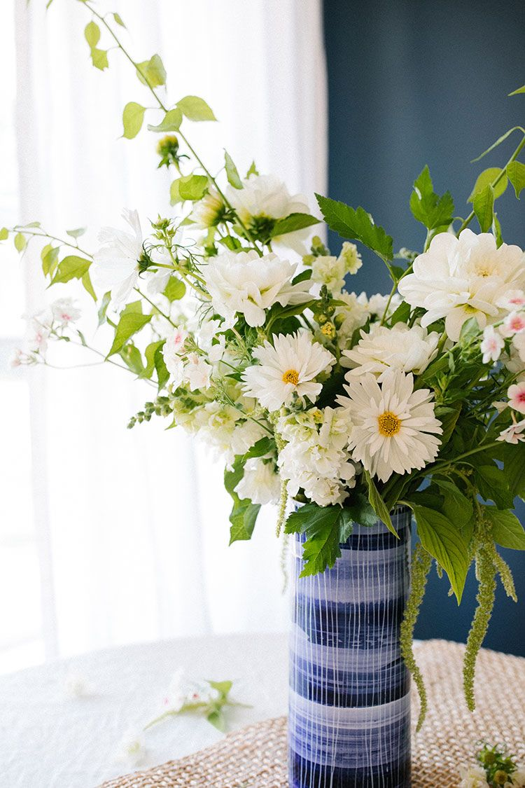 An All White Floral Centerpiece Inspired By Summer Flowers