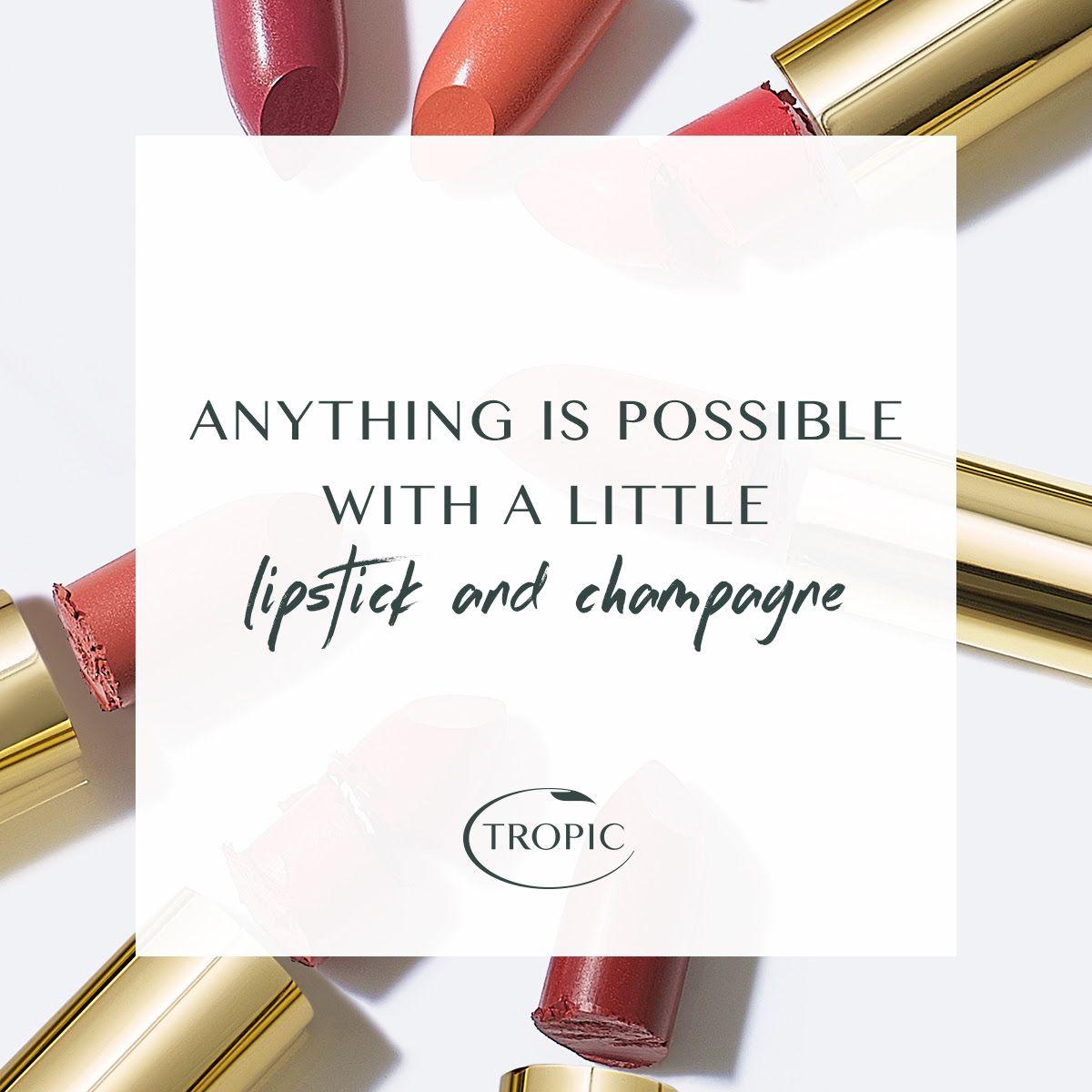 Lipstick & Champagne Tropic skincare, Cruelty free skin