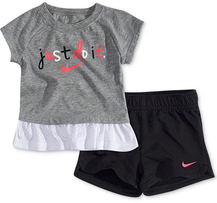 7e385a1bafa5 Nike Baby Girls 2-Pc. Logo-Print Peplum Top & Shorts Set in 2019 ...