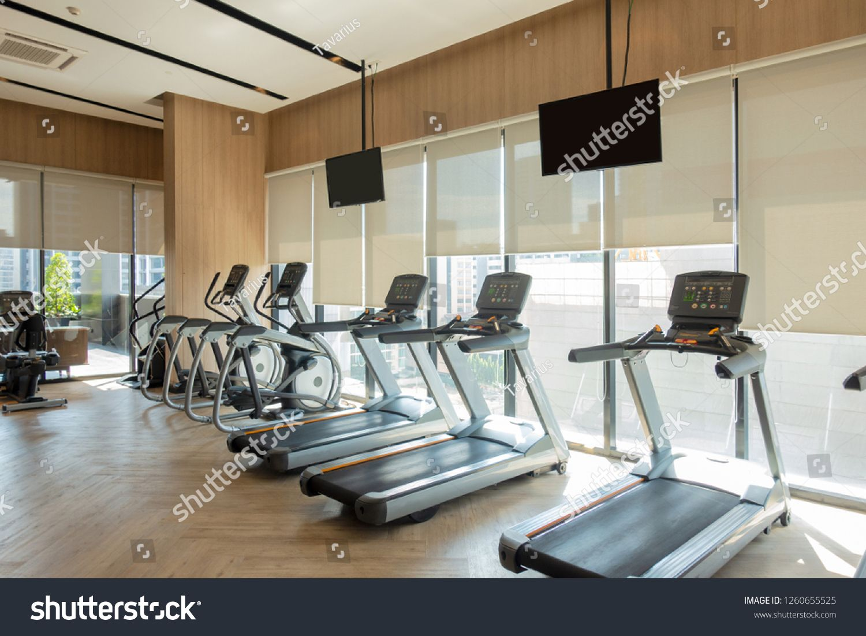Modern Fitness Center With Gym Equipment Decoration Interior Design Background Ad Ad Cen Green House Design Green Interior Design French Interior Design