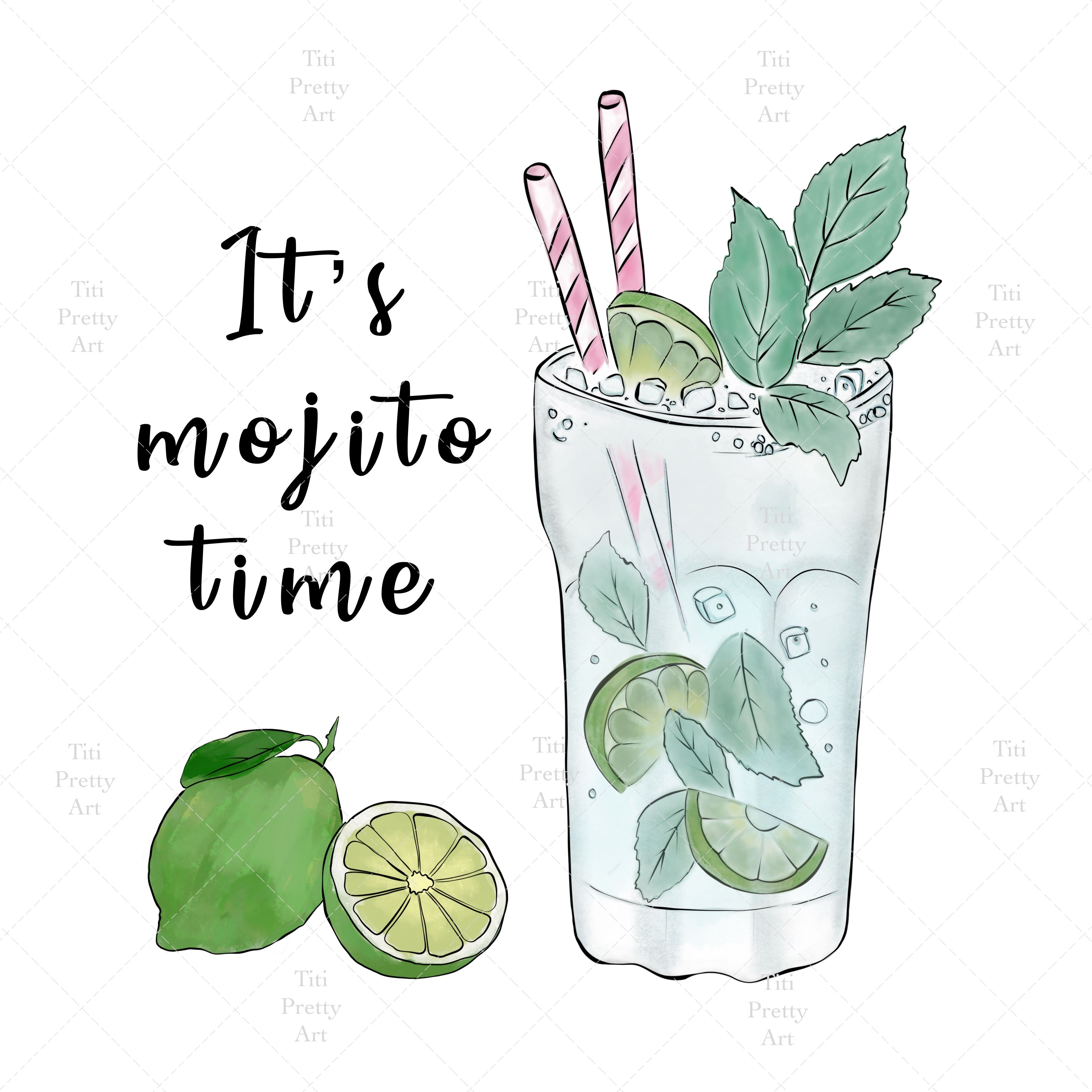 Mojito Cocktail Sublimation Png Design Hand Drawn Digital Etsy In 2021 Mojito Cocktails Drawing Drinks Design