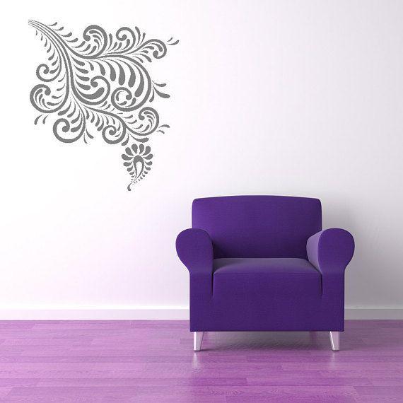 Retro Vintage Mod Organic Flourish Decorative Design Corner Wall Decal Swirl Vinyl Sticker Tear Drop Home Office Den Dining Decor Vinyl Wall Decals Wall Decals Home Wall Art