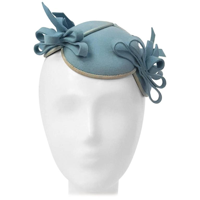 30s Blue Felt Hat w  Bows  9072119ab815