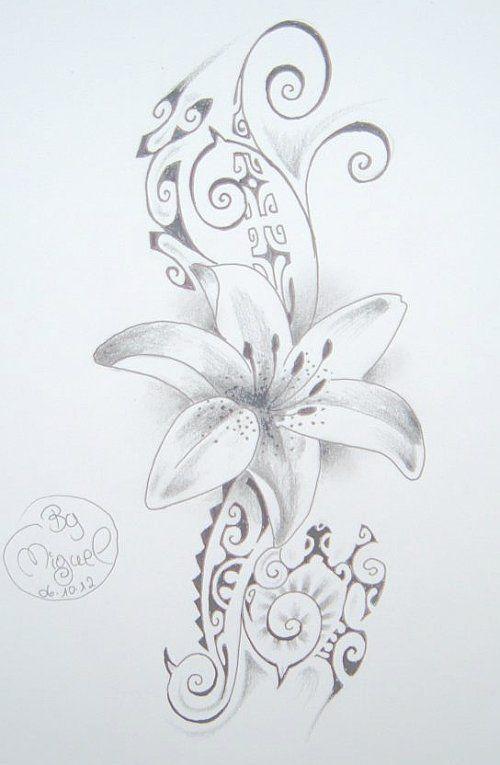 Dessin De Tatouage De Fleur Sur Fond De Style Maori