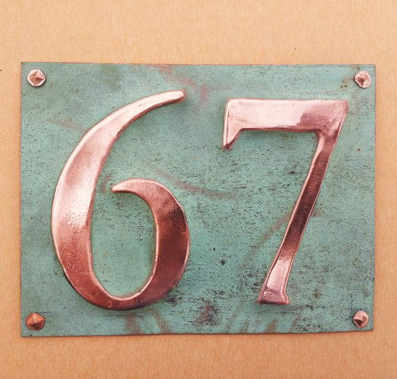 Eco Gift Present House Numbers In Green Copper 3 75mm 4 100 Mm Polished And Laquered 2x Numbers D House Numbers Diy House Numbers Copper House