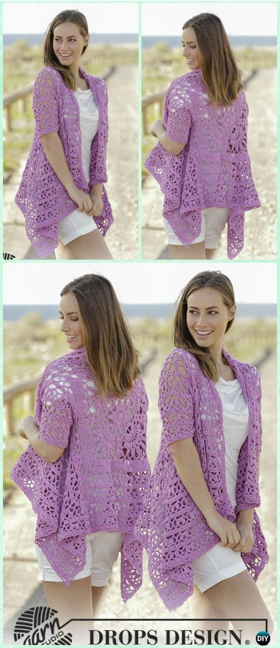 Crochet Lilac Dream Lace Square Jacket Free Pattern - Crochet Granny ...