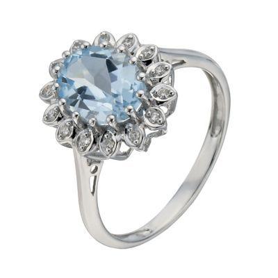 9ct White Gold Blue Topaz & Diamond Ring H Samuel the Jeweller