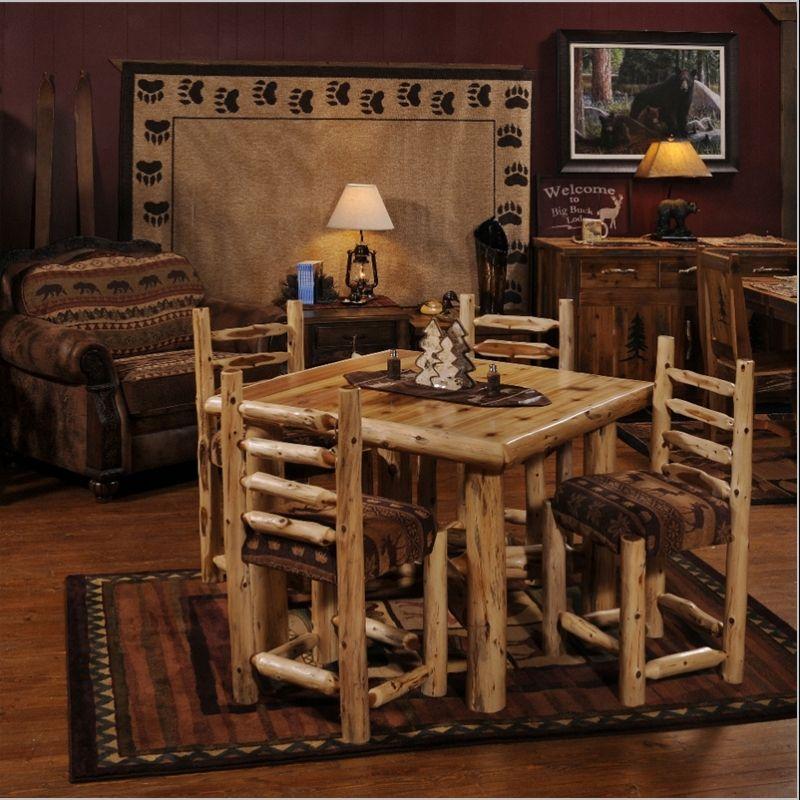 Log Cabin Builder - Cedar Table Set Log furniture  wood works