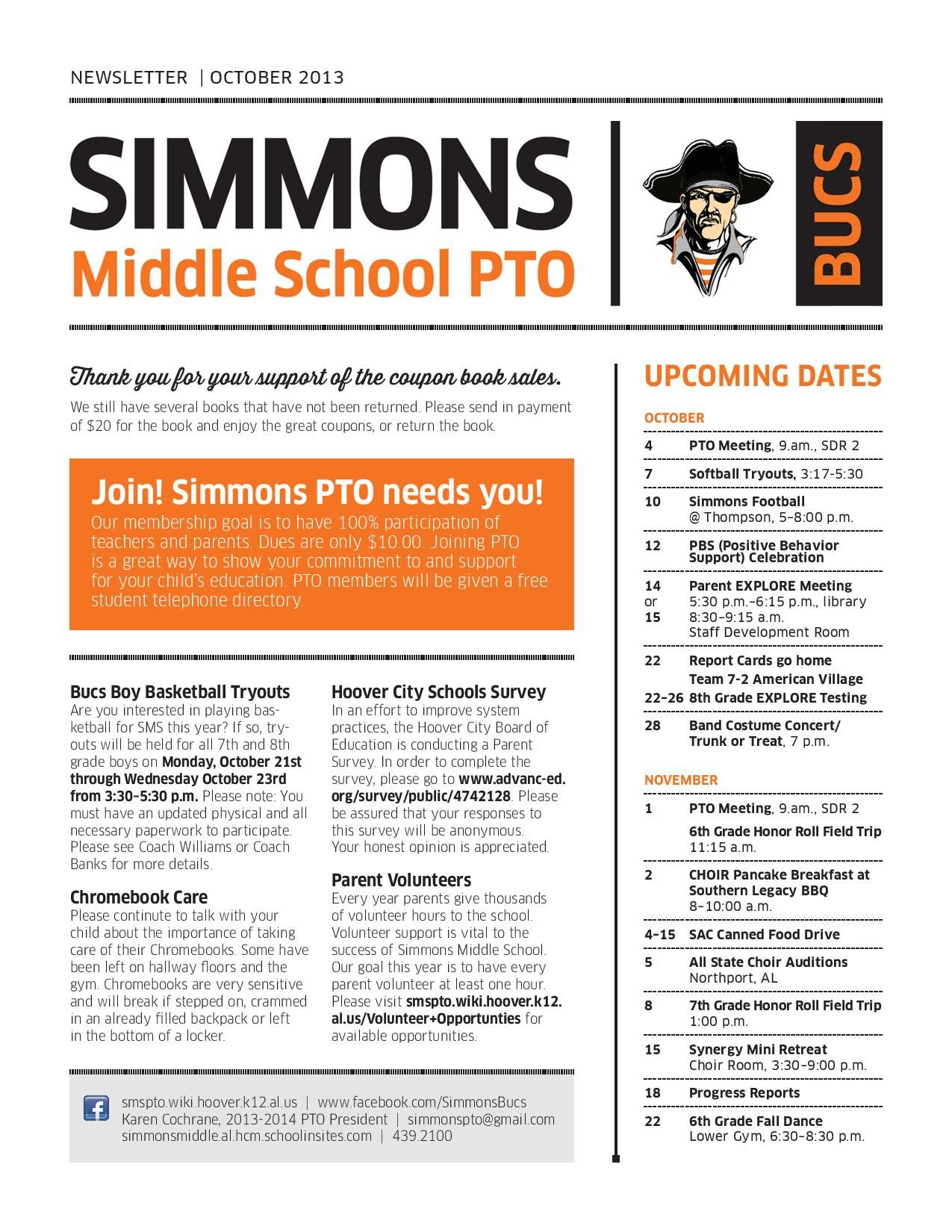 Simmons Middle School Latest News  Sms Pto Newsletter  October