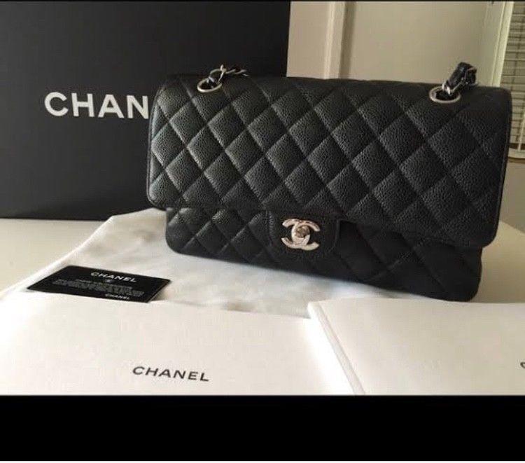 Nwt Box Chanel 2018 Black Caviar Leather M L Double Flap Shoulder Bag Fashion Clothing Shoes Accessories Womensbagshandb Chanel Bag Chanel Handbags Chanel