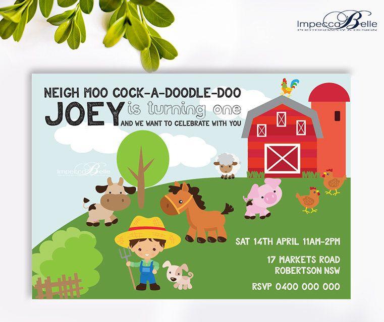 Farm Animal Birthday Invitation | Customisable | Birthday Invitation ...