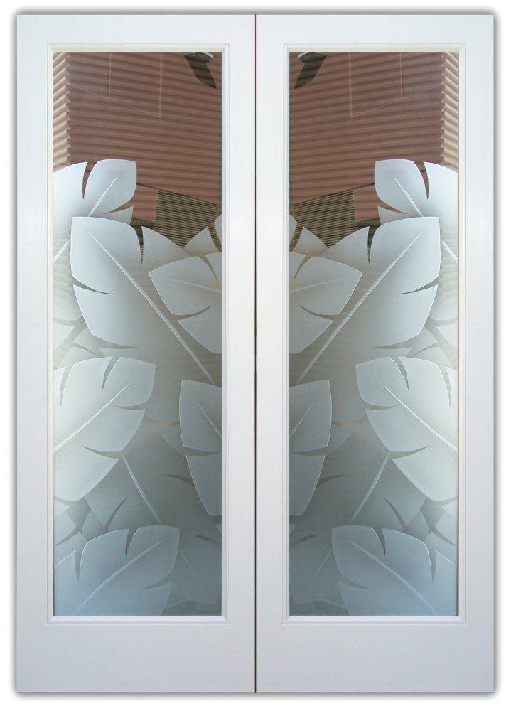 Bananenblätter 3D – Doppeltüren Handgefertigt, Sandstrahl gefrostet und 3 …