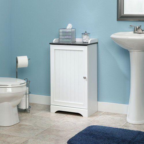 Bathroom Floor Cabinet Furniture One Door Two Shelves Storage Towel White Finish Sauder Modern