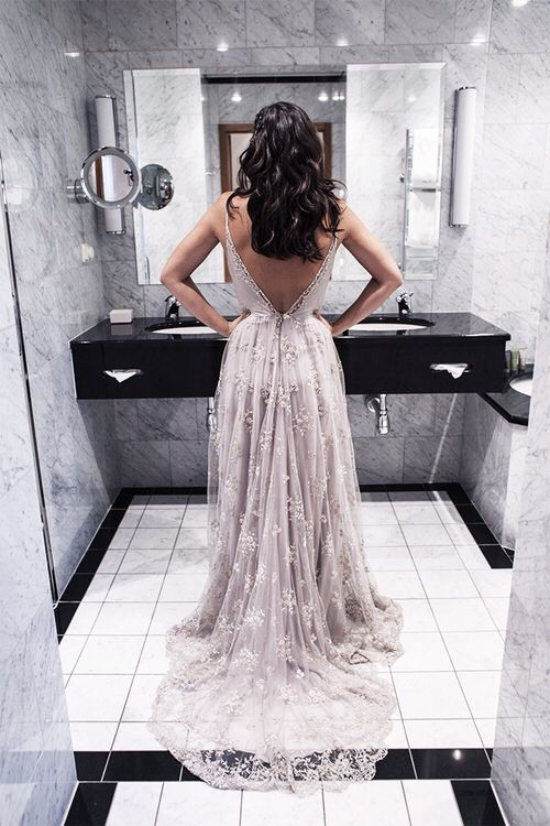Spaghetti Straps Prom Dresses 2017 V-neck Open Back 2017 Evening ...