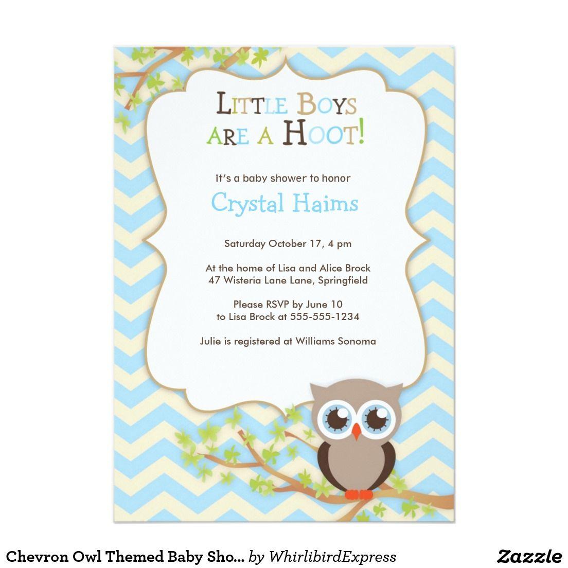 Chevron Owl Themed Baby Shower Invitations - Boy | Nursery Ideas ...