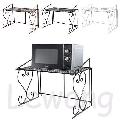2 Tier Metal Microwave Oven Rack Stand Shelf Household Kitchen Storage Organiser