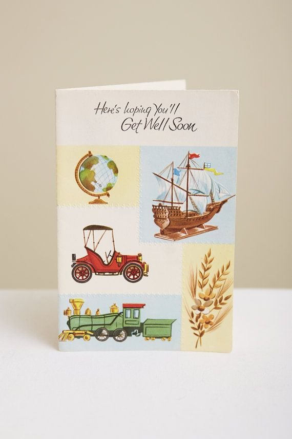 1950s Get Well Soon Card with Globe Ship Automobile Train and Flowers by SoftServeVintage