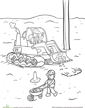 Construction Yard Coloring Page Building Friendship B Day Party