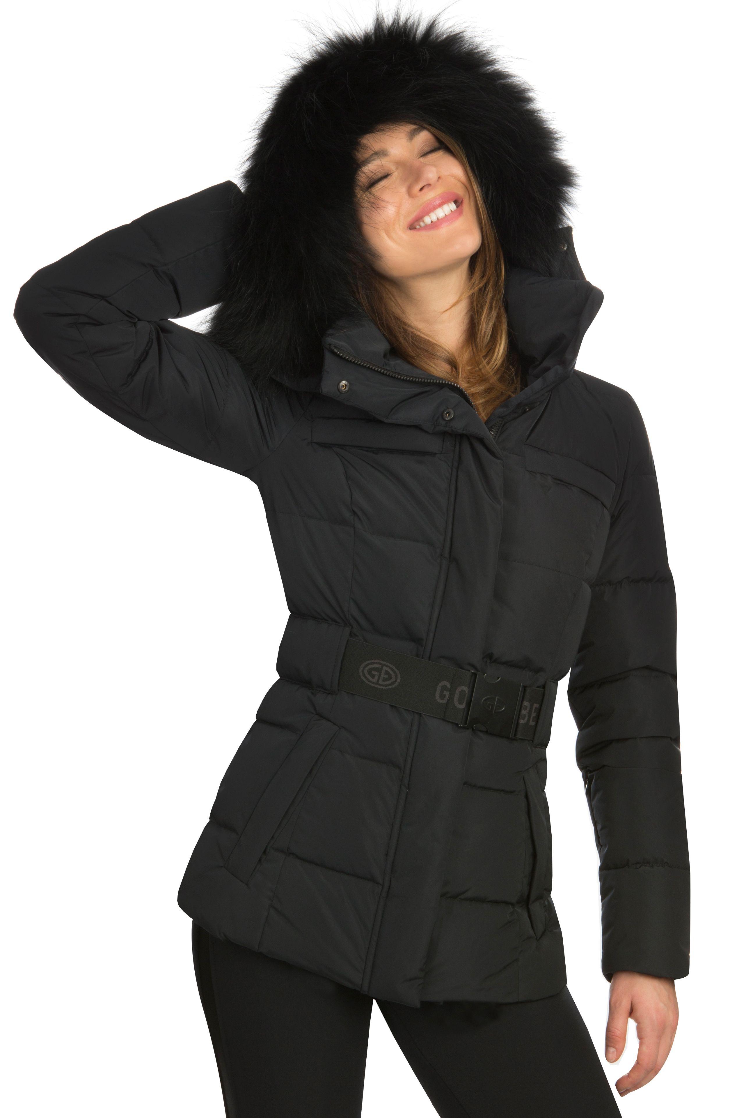 Goldbergh Jodie Ski Jacket In Black With Black Fur Trimmed Hood Fur Hood Jacket Down Ski Jacket Black Ski Jacket