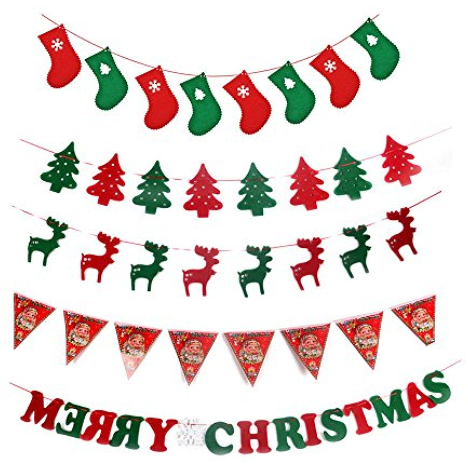 Christmas Banners Hanging Tree Elk Stockings Flags Merry Christmas