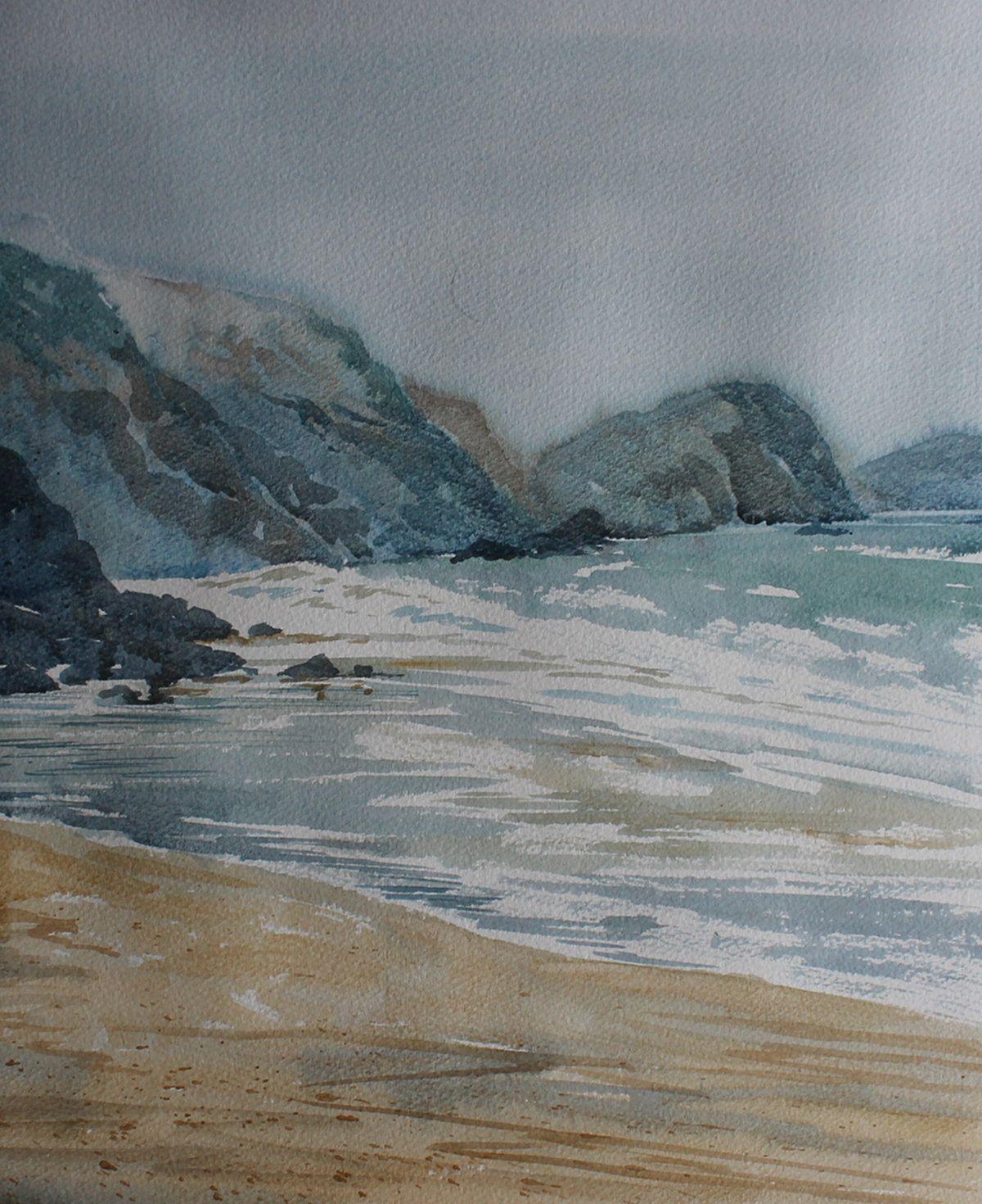 Watercolour Of Cornwall Coast Misty Seascape Sea And Cliff