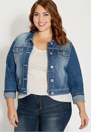 2326c4bcda6 plus size medium wash denim jacket (original price