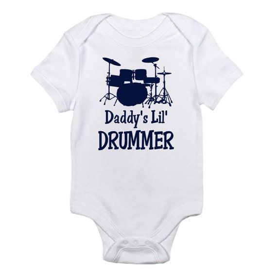 Baby Boys//Girls Unisex MY DAD IS A DRUMMER Funny Drum Drumming Music Babygrow